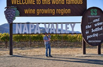 Myself and toddler at Napa Valley sign