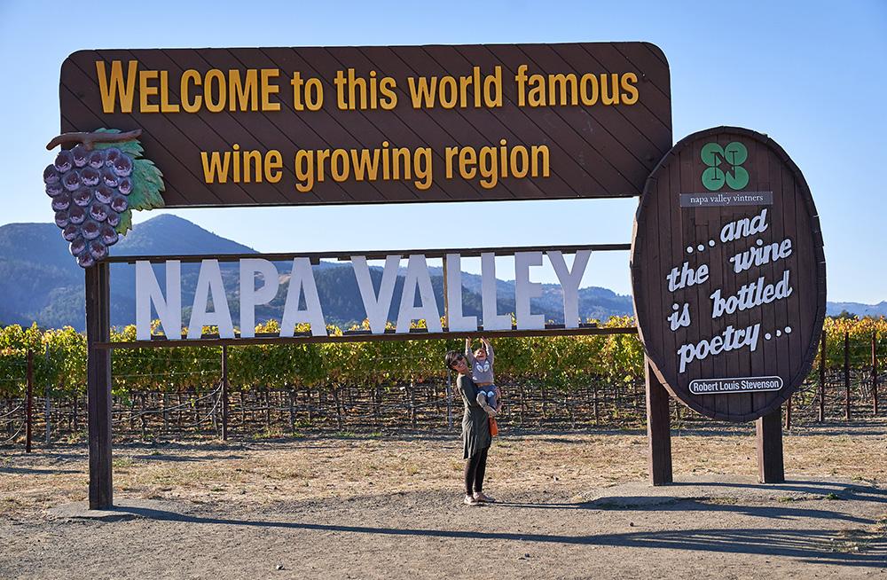 Family at Napa Valley sign